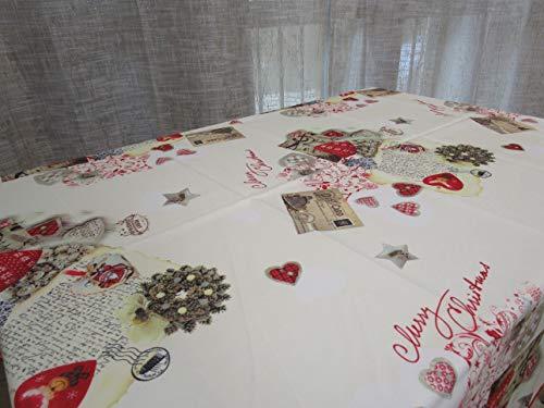 Mantel redondo antimanchas con diseño de Buon navideño 100% impermeable. Medidas: 180 cm de diámetro.