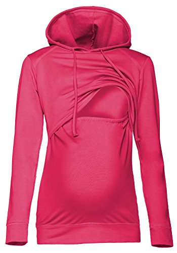 Happy Mama. Damen Kapuzenpullover Stillzeit Top Zweilagiges Sweatshirt. 272p (Fuchsie, 46, 3XL)