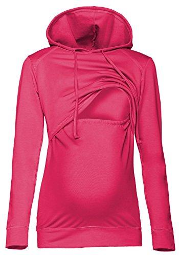 Happy Mama. Damen Kapuzenpullover Stillzeit Top Zweilagiges Sweatshirt. 272p (Fuchsie, 36, S)