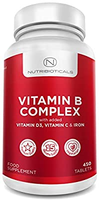 Vitamin B Complex with Vitamin D (NHS Recommended Amount) Plus Vitamin C for Immune System and Iron - Vegetarian - 450 Tablets (15 Month Supply)