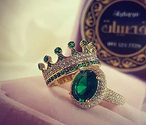 CXWK Conjunto de Anillos de Corona Ovalada de Moda para Mujer, Exquisito Ajuste de Puntas, Anillos Femeninos de circonita de Cristal Verde, joyería de Compromiso de Boda