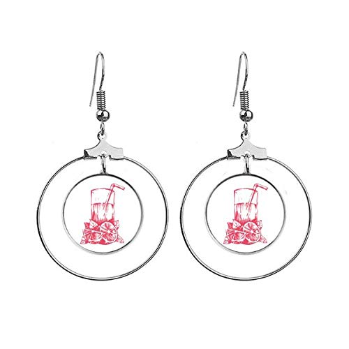 Sap Citroen Aquarel Illustratie Patroon Oorbellen Dangle Hoop Sieraden Drop Cirkel