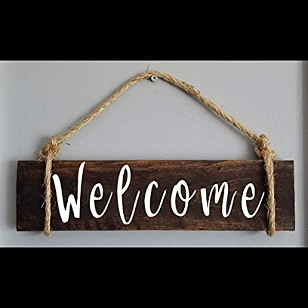 Zacathan432 Welcome Sign Front Door Entry Way Foyer Vinyl Wood Sign Rope Wall Decor Home Housewarming Gift Rustic