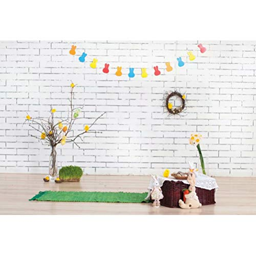 8x8FT Vinyl Photo Backdrops,Easter,Eggs and Fluffy Bunny Photo Background for Photo Booth Studio Props
