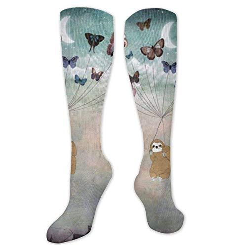 Calcetines altos de algodón con diseño de mariposa y perezoso sobre la rodilla