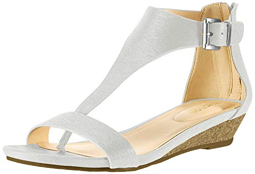 Kenneth Cole REACTION Women's Great Gal T-Strap Low Wedge Sandal, Grey 9.5 M US
