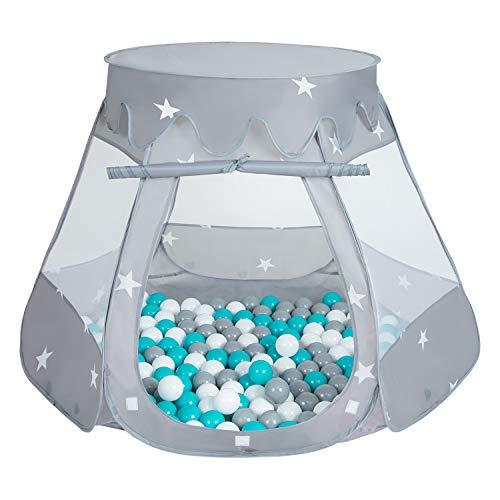 SELONIS Baby Spielzelt Mit Plastikbällen Zelt 105X90cm/100 Bälle Plastikkugel Kinder, Grau:Grau-Weiß-Türkis