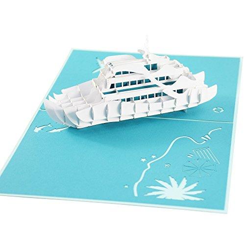 XXL 3D-Pop-Up-Karte mit weißer Luxus-Yacht, Jacht, z.B. als Reise-Gutschein, Wellness-Urlaub, Verpackung für Geldgeschenke/Urlaubsgeld, Erlebnis-Gutschein für Kurzurlaub, Geburtstagskarte