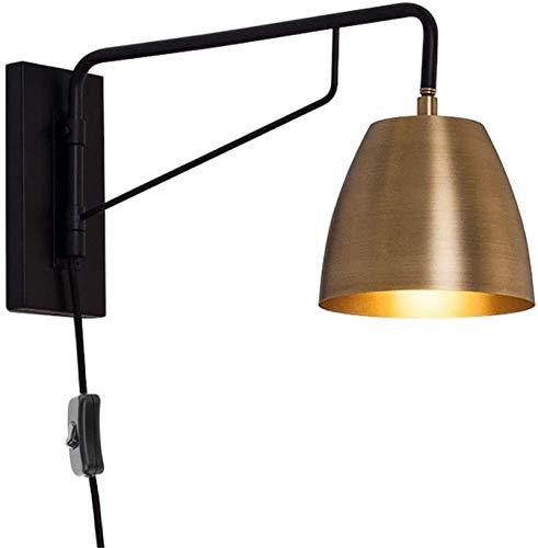 Lámparas de pared industriales, Metal Negro E27 Lámpara de pared con enchufe y regulador, dormitorio lámpara de cabecera de lectura de luz ajustable, latón Pantalla, línea de suministro de 2,0 M, rúst