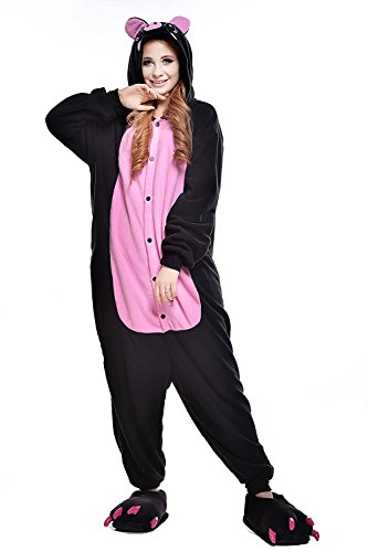 ABYED® Kostüm Jumpsuit Onesie Tier Fasching Karneval Halloween kostüm Erwachsene Unisex Cosplay Schlafanzug- Größe M - für Höhe 156-163CM, Schwarzes Schwein