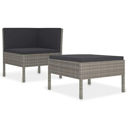 Juego de muebles de jardín de 2 piezas con cojines de polirratán, color gris