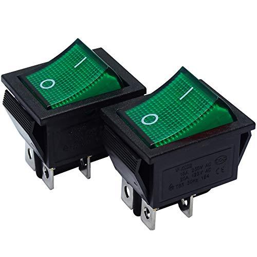 mmtrade | 2x Kippschalter grün beleuchtet 230V, ON-OFF/EIN-AUS Wippschalter beleuchtet, DPST, Einbauschalter einrastbar mit Selbsthemmung, 20A/125VAC, 15A/250VAC