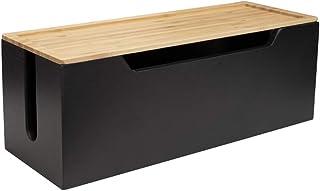 Calife 北欧インテリア ハンドメード竹製電源タップ & ケーブルボックス コンセント収納ボックス 配線隠し コード隠しボックス テーブルタップ収納ボックス 竹製 (黒&原木色)