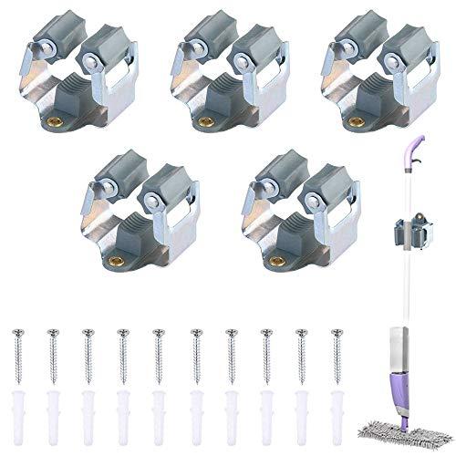 Portascope da Muro Parete ManLee 5pcs Appendiscopa e Portaspazzole Rastrelliera Scope Mop Holder Montaggio a Parete con Viti per Supporto Scopa a Bagno e Giardino