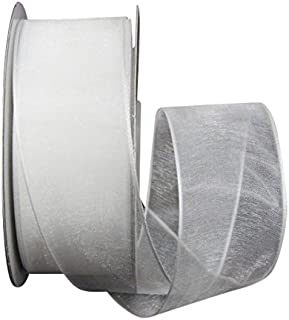 Ribbon Bazaar Wired Sheer Organza 1-1/2 inch White 25 Yards Ribbon