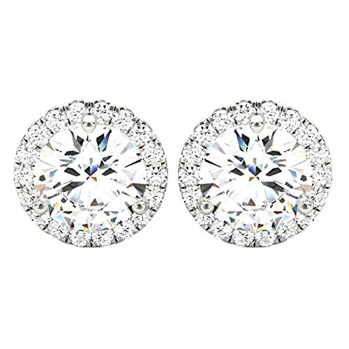 1 Carat (ctw) Round Halo Diamond Earrings Value Collection 14K White Gold - 1.00
