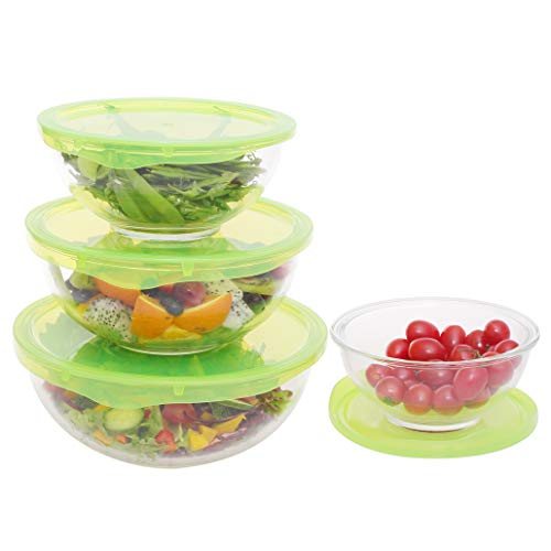 Glass Mixing Bowls Without Lids Set Stackable Glass Bowls 4 Piece Set for Cooking Prep Meals