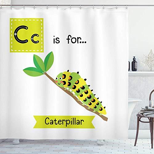 Gjid douchegordijn Caterpillar kinderen dierentuin alfabet ontwerp met caterpillar in een tak stof leerstof badkamer decoratie set met Apple-haken