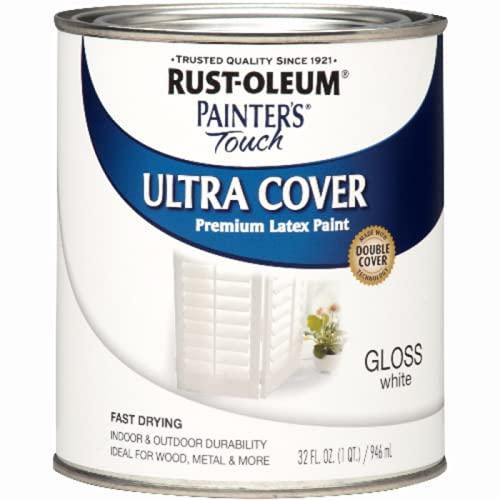 Rust-Oleum 1992502 Painter's Touch Latex Paint, Quart, Gloss White
