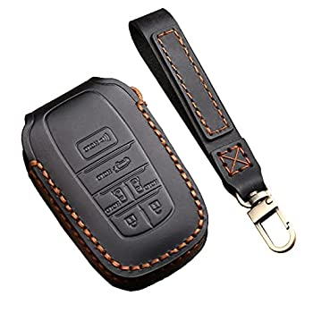 6 Buttons Key Fob Cover Case Fit for Toyota Sienna 2021 4th Gen Genuine Leather Handmade Fob Cover with Keychain Soft Leather 360 Degree Protection Black