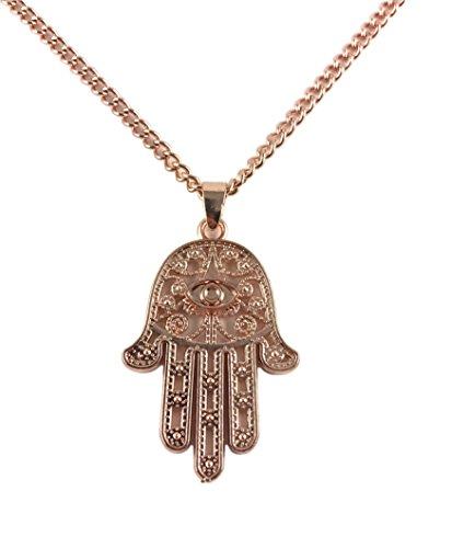 Good.Designs ® Damen - Halskette mit Hand der Fatima Anhänger (50cm) roségoldene Kette Damen mit Hamsa Anhänger rosékette rosafarben rosanerschmuck rosaneranhänger rosa Rose rosefarben