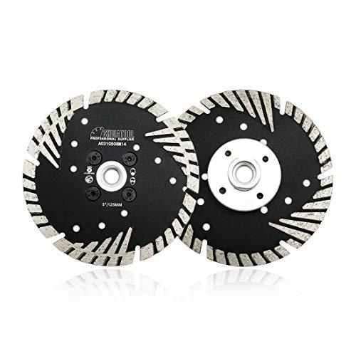 SHDIATOOL Disco de Corte de Diamante 2 Piezas 125mm x M14 Hoja de Sierra con Turbo Slant Protection Dientes para Ladrillo Azulejos Cerámica Mármol Granito