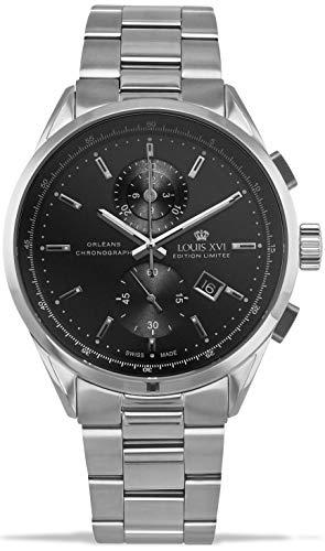 LOUIS XVI Herren-Armbanduhr Orléans Stahlband Silber Schwarz Chronograph Analog Quarz Edelstahl 920