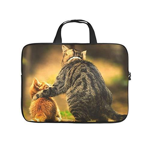 Viejo gato y niño gato portátil bolsa resistente al agua portátil bolsa de protección divertida para el trabajo universitario