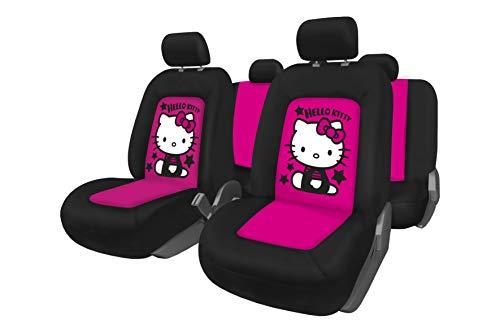 Hello Kitty KIT4056 1 Komplettset mit 11 Universal Autositzbezügen, Schwarz/Pink, Única