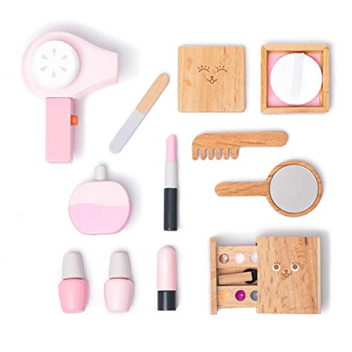 umu Wooden Beauty Salon Toys for Girls Makeup Playset 12 Piece Kit with Makeup, Brush, Mirror and Cosmetics Case for 3, 4 and 5 Olds