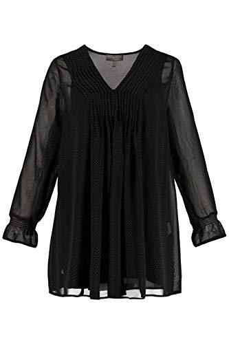 Ulla Popken Femme Grandes Tailles Tunique en Voile et Top Opaque Noir 56/58 727537 10-54+