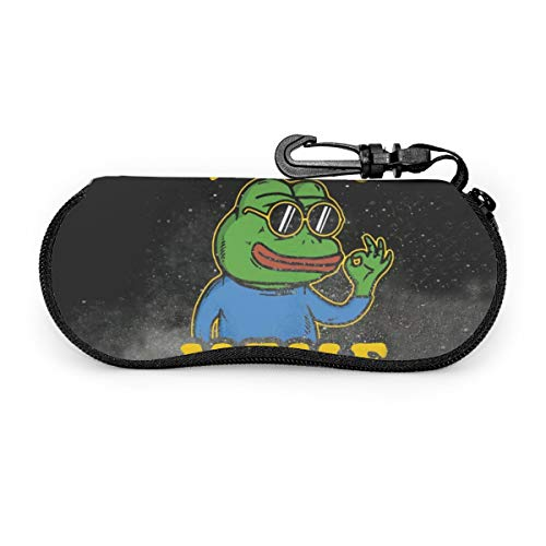 Sunglasses Glasses Soft Case Ultra Light Neoprene Zipper Eyeglass Case with Belt Clip, Brave Pepe The Frog Born Meme