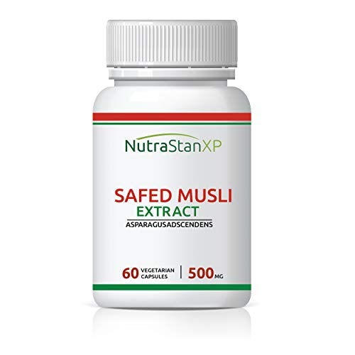 NutrastanXP Safed Musli Extract, 500mg (60 Vegetarian Capsules) (Pack of 1)