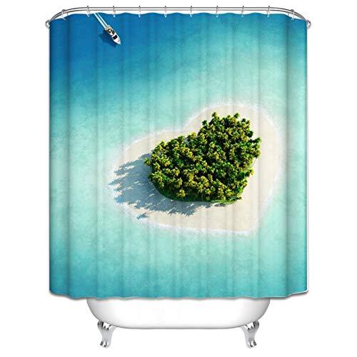Amody Badezimmer Vorhang Fenster Liebesinsel 165x200CM Duschvorhang Waschbar Antischimmel Duschvorhang Waschmaschine