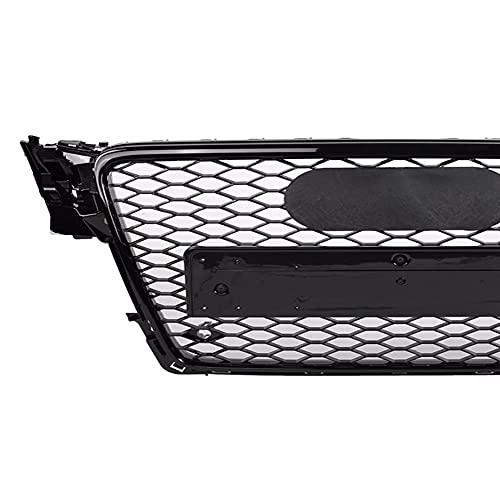 DAJIJI Parrilla Frontal, Frente Deportivo Hex Mesh Honeycomb Hood Grill Gloss Black para Audi A4 / S4 B8 2009 2010 2011 2012 para RS4 Estilo Auto Accesorios