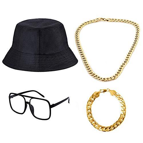 4 Stücke 80's 90's Hip Hop Kostüm Kit, Old Style Coole Rapper Outfits Baumwoll Eimer Hut, Gold Ketten und Alt Schule Kariert Brillen für Zubehör Geburtstag Gefälligkeiten, 80er/90er Party Theme Dekor