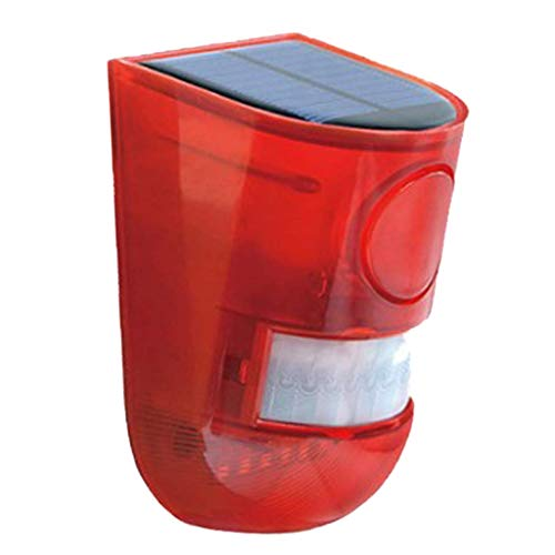 Tubayia Solar Bewegungssensor 6 LED Licht 110dB Sirene Sicherheit Strobe Alarm für Haus Villa Garten Bauernhof