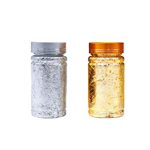 Milisten 2 botellas 3 g de láminas metálicas hojuelas de oro y plata para dorar pintar hacer uñas