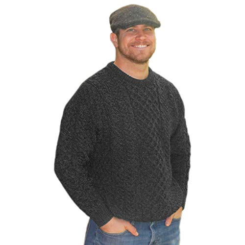 Mens Traditional Aran Sweater, Real Irish Wool, Made in Ireland, Large, Gray