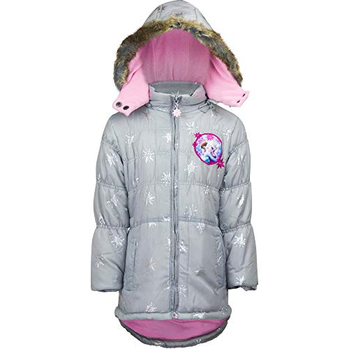 Frozen - Die Eiskönigin Anna & ELSA Winterjacke Mantel mit Kapuze Grau, Größe:104 (4 A)