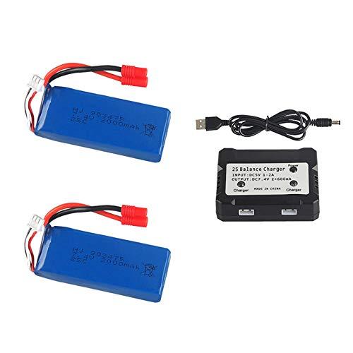 7 4V 2000mAh para X8C X8W X8G quadrocopter 7 4V 2000mAh batería Lipo de alta capacidad 903475 / cargador-Blau