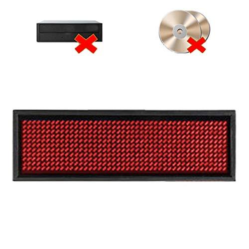 Ausweise, LED-Namensschild, wiederaufladbare LED-Abzeichen, Built-In-Software für Windows, keine Notwendigkeit, CD & Treiber, Visitenkarte Bildschirm-Zeichen (Red)