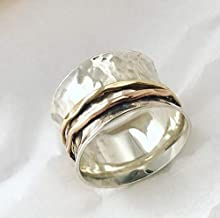 silver spinner ring-spinner rings for women-fidget ring-meditation ring-anxiety ring-three tone ring-mix metals ring-statement ring #115