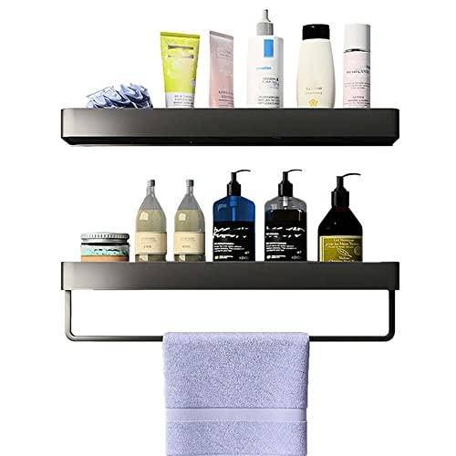 Repisa Baño Pared Estanteria Baño Autoadhesiva Balda Baño Antioxidante Sin Taladrar Aluminio para inodoros e inodoros-negro_Los 60cm