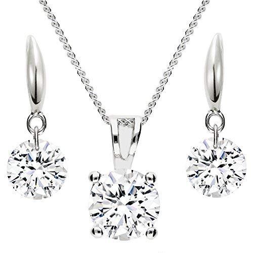 Mya Art - Parure collana orecchini, set da donna, in argento 925con zirconi o pietre swarovski  e argento, colore: argento, cod. MYASIKET-104