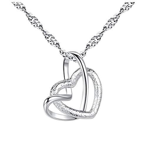 lujiaoshout Collar Colgante de Collar del corazón de la Astilla con Collar de Cadena Exquisita de Las Mujeres señoras de Las Muchachas