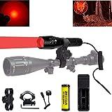 BESTSUN 300 yardas Luz roja LED Antorcha Táctico Coyote Hog Hunting Linterna con interruptor de presión, Montaje de alcance y montaje en riel, Batería, Cargador para observaciones, Astronomía