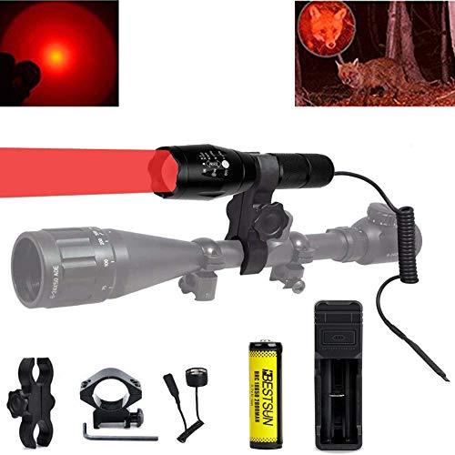 BESTSUN 300 Yard Red Light LED Torch Focus Adjustable Tactical Coyote Hog...