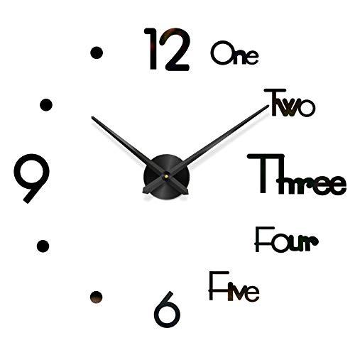 Fghyh Wanduhr Groß DIY Uhr Quarz Wanduhr 3D Aufkleber Uhr mit Dekorative Sterne für Wohn- / Schlaf- / Kinder-/ Küche Büro Cafe (BK)