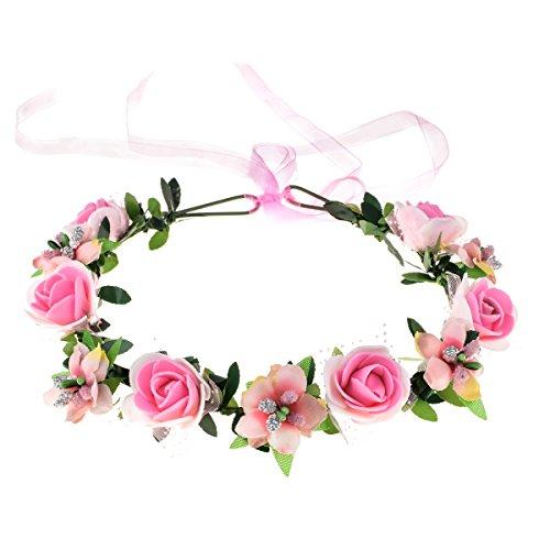 June Bloomy Rose Floral Crown Wreath Girls Flower Headband BOHO Garland Halo Headpiece (Pink)